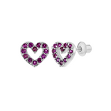 Baby and Children's Earrings:  Sterling Silver Pink Pave Set CZ Open Hearts with Screw Backs