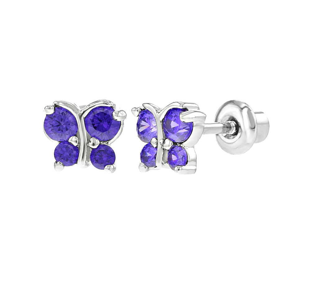 Baby and Children's Earrings:  18k White Gold Filled Purple CZ Butterflies with Screw Backs