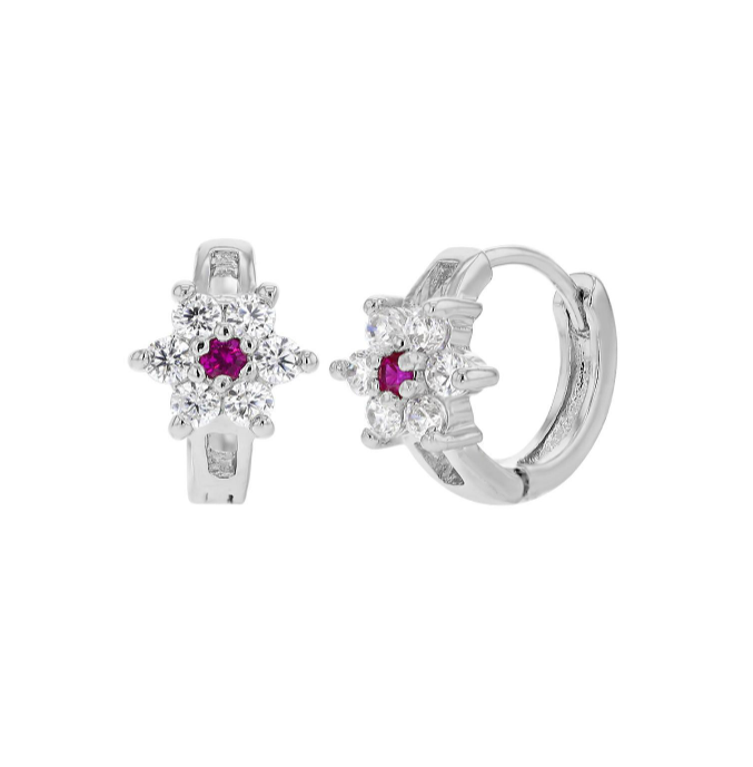 Children's Huggies:  18k White Gold Filled Huggies with Dark Pink CZ Flower