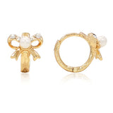 Children's Earrings:  18k Gold Filled, CZ, Pearl Bow Huggies