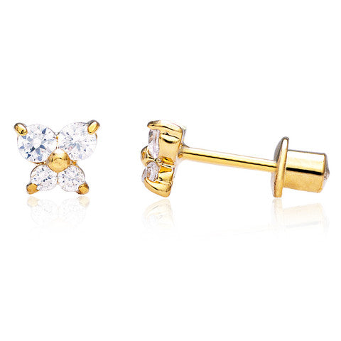 Baby and Children's Earrings:  18k Gold Filled Clear CZ Butterflies with Screw Backs