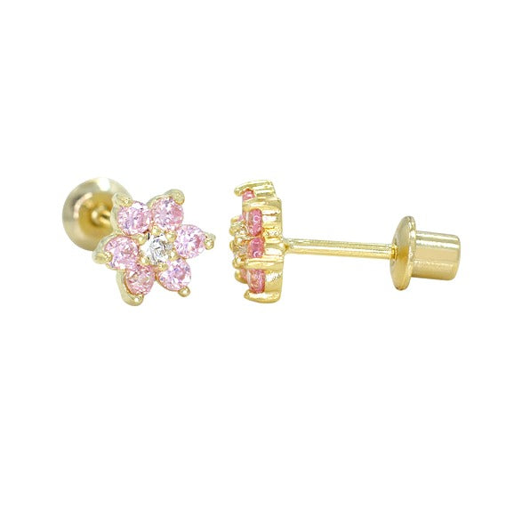 Baby and Children's Earrings:  18k Gold Filled Pink CZ Flower Earrings with Screw Backs
