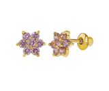 Baby and Childrens Earrings:  18k Gold Filled Flower Earrings Pink CZ with Screw Backs