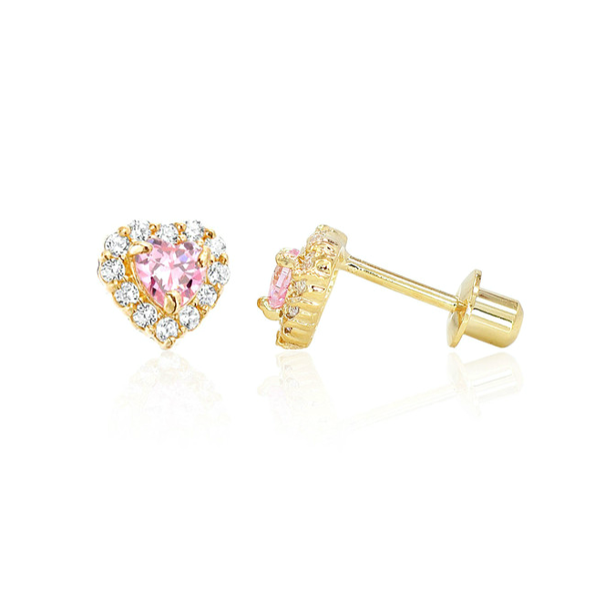 Baby and Children's Earrings:  18k Gold Filled Pink and White CZ Hearts with Screw Backs