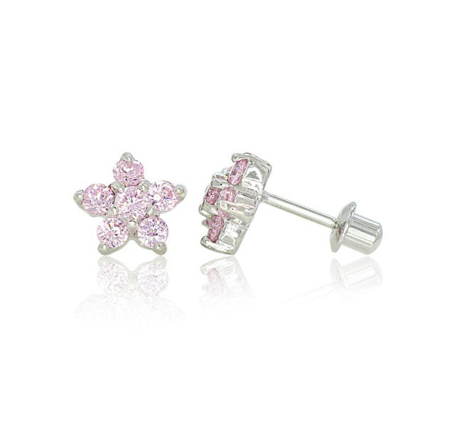 Children's Earrings:  18k White Gold Filled, Pink CZ Flowers with Safety Screw Backs