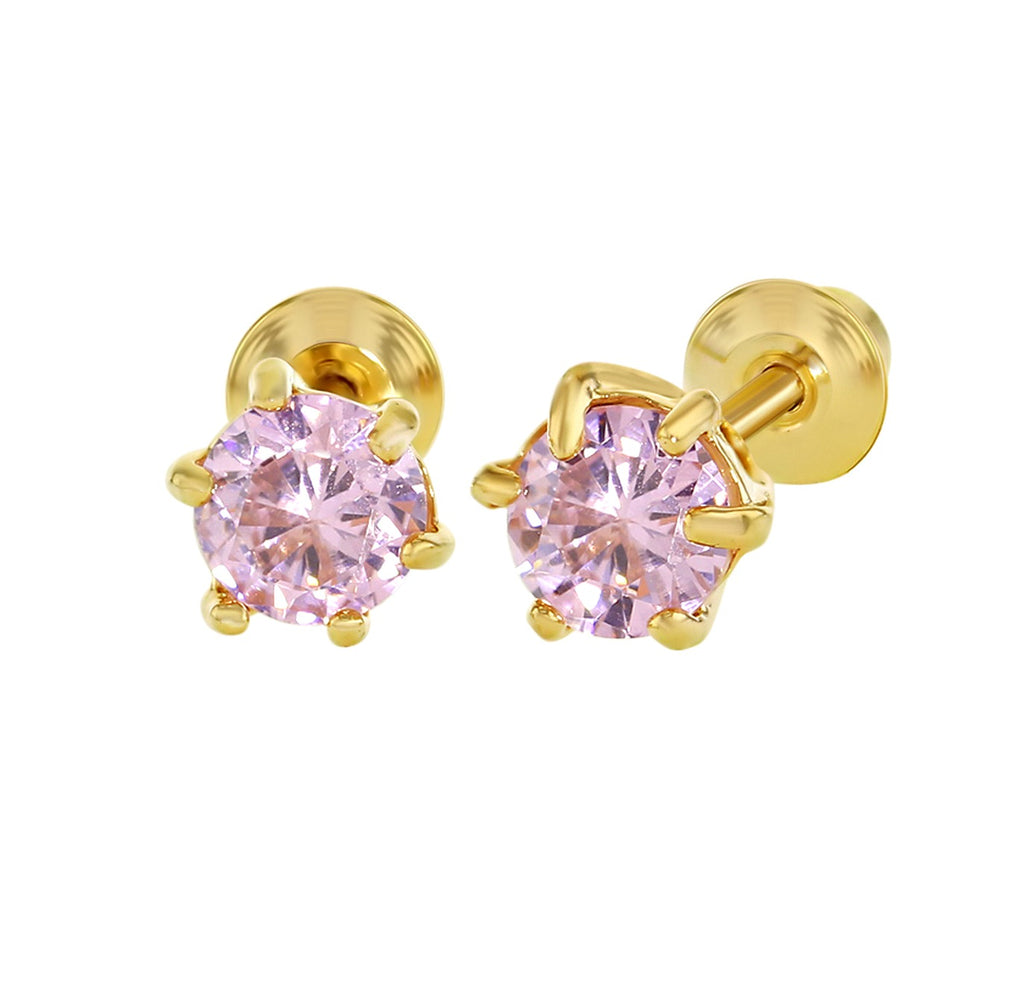Children's Earrings:  18k Gold Filled Pink CZ Prong Set Screw Back Earrings 5mm