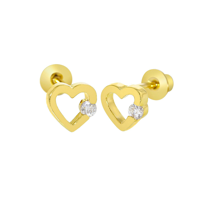 Baby and Children's Earrings:  18k Gold Filled Open Hearts with Clear CZ with Screw Backs