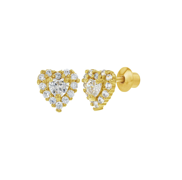Baby and Children's Earrings:  18k Gold Filled CZ Hearts with Screw Backs