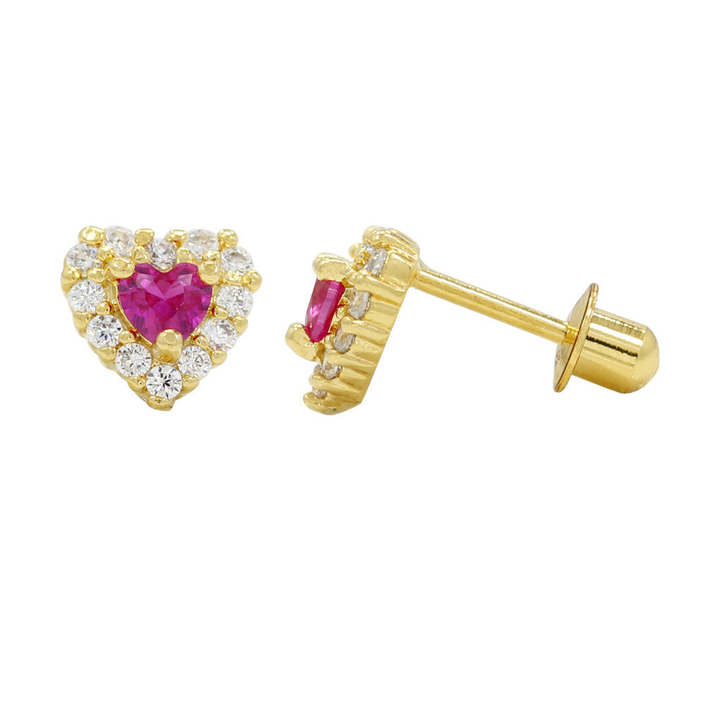 Baby and Children's Earrings:  18k Gold Filled Ruby/White CZ Hearts with Screw Backs