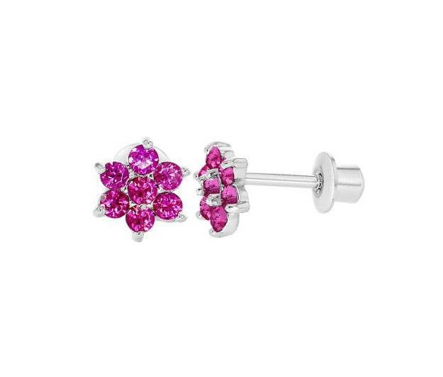 Baby and Children's Earrings:  18k White Gold Filled, Rhodium Plated, Fuchsia Flowers with Screw Backs
