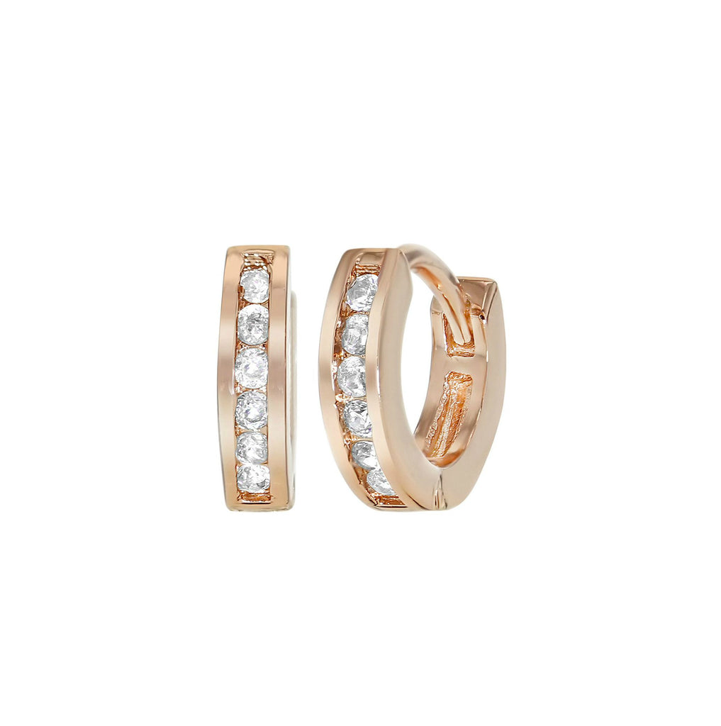 Children's Earrings - 18k Rose Gold Filled White CZ Huggies