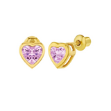 Children's Earrings:  18k Gold Filled, Pink CZ Hearts with Screw Backs 6mm