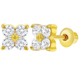 Baby and Children's Earrings:  18k Gold Filled White CZ Flower Screw Back Earrings