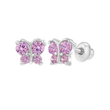 Baby and Children's Earrings:  18k White Gold Filled, Pink CZ Butterfly Screw Back Earrings