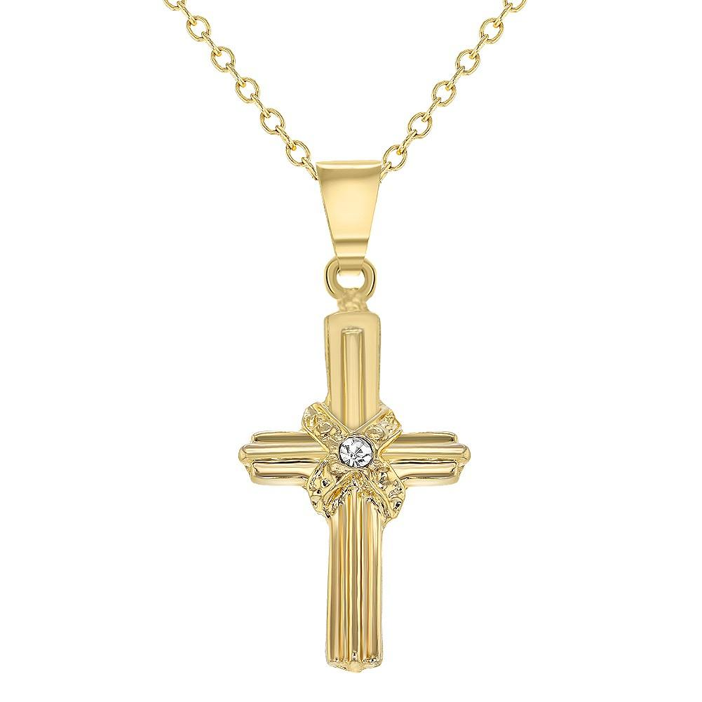 Children's Necklaces:  18k Gold Filled Cross Necklace with CZ
