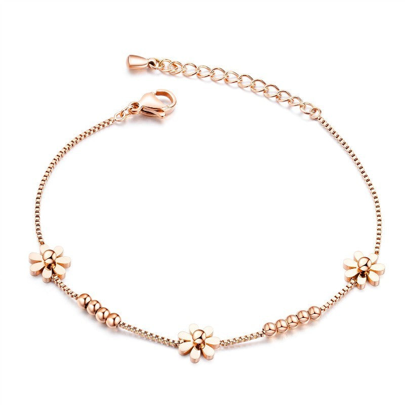 Children's, Teens' and Mothers' Anklets:  Titanium, Rose Gold IP, Flower Anklet with Gift Box