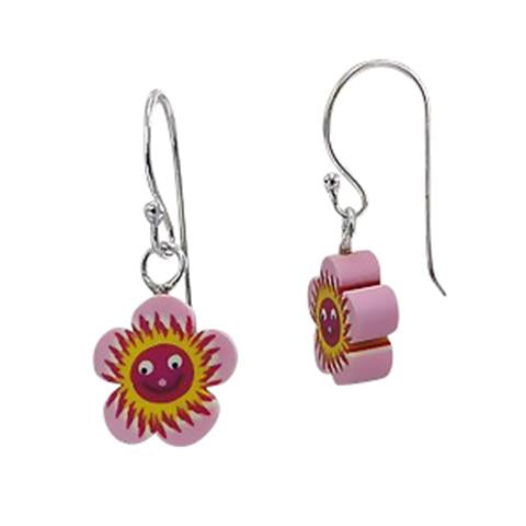 Children's Earrings:  Sterling Silver/Fimo Flower Earrings END OF LINE
