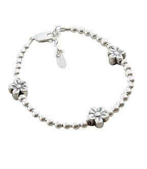 Children's Bracelets:  Sterling Silver Ball Bracelets with Silver Flowers