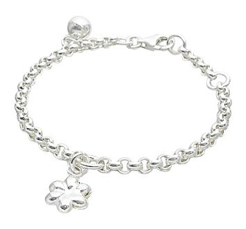 Baby Bracelets:  Sterling Silver Baby Bell Bracelets with Flower