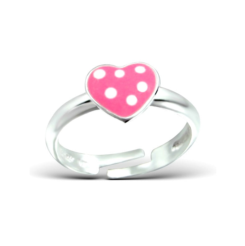 Children's Rings:  Sterling Silver Dotty Heart Rings