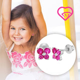 Baby and Children's Earrings:  18k White Gold Filled, White and Fuchsia CZ Butterflies with Screw Backs