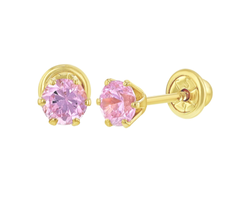Baby and Children's Earrings:  14k Gold Pink Solitaire CZ with Screw Backs Newborn - 3 or 4