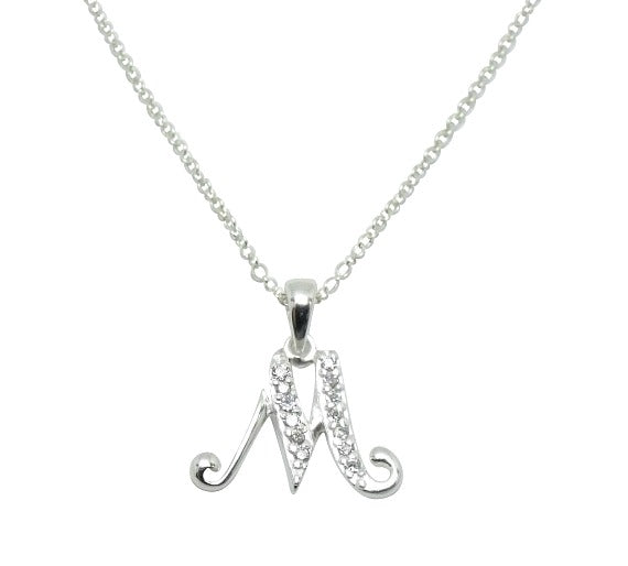 Children's Necklaces:  Sterling Silver/CZ Initial M Necklaces