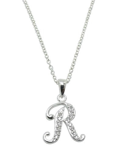 Children's Necklaces:  Sterling Silver/CZ Initial R Necklaces