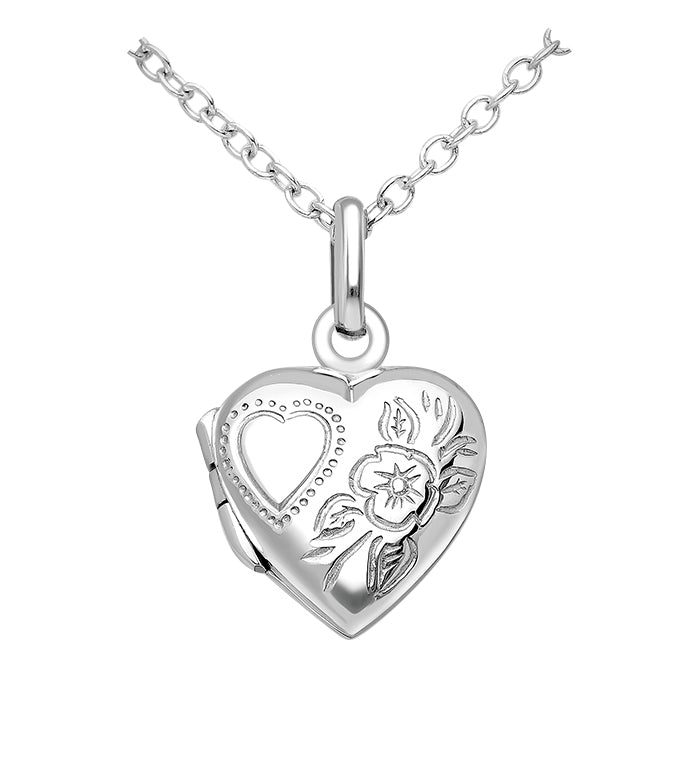 Children's Locket Necklaces:  Sterling Silver Embossed Hearts and Flowers Locket Necklaces