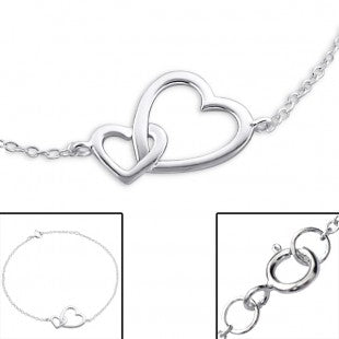Baby and Toddler Anklets:  Sterling Silver Double Heart Linked Anklets/Bracelets