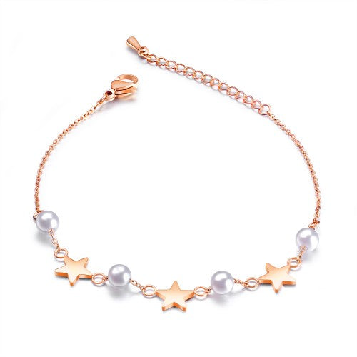 Children's and Teens' Bracelets/Anklets:  Titanium IP Rose Gold Star and Pearl Bracelets with Gift Box