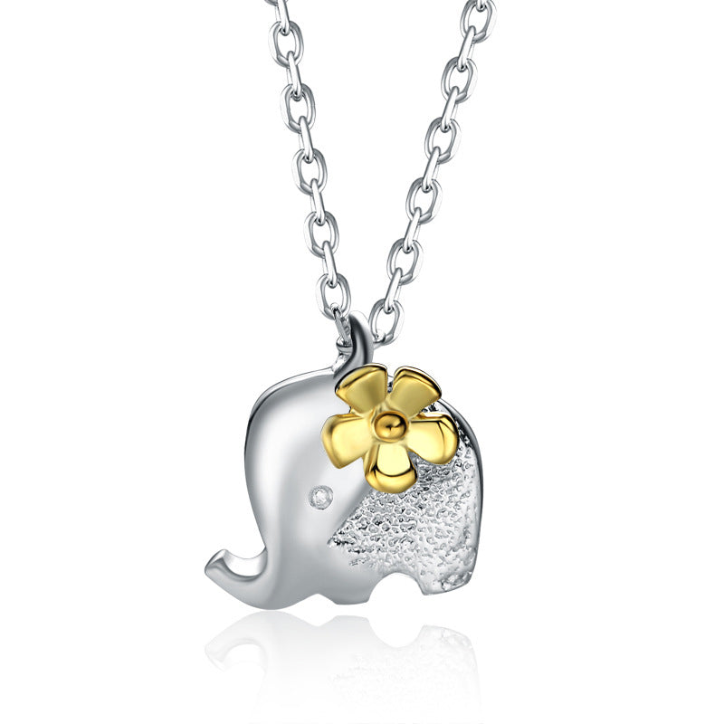 Children's Necklaces:  Sterling Silver Elephant with Flower Necklaces