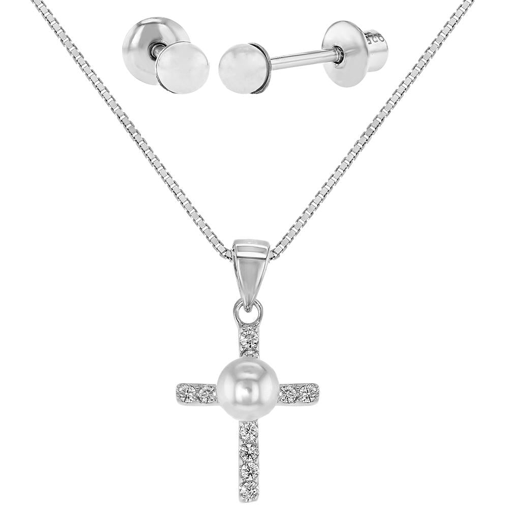 Children's Necklace and Earrings Set:  Sterling Silver Cross Necklace and Pearl Screw Back Earrings