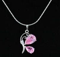 Children's Necklaces:  White Gold Plated Children's Pink CZ Butterfly Necklaces