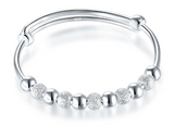 Baby and Children's Bangle:  Sterling Silver Expanding Baby Bangle with Silver Balls Mixed with Silver Stardust Balls