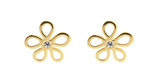 Baby and Children's Earrings:  9k Gold CZ Flowers with Gift Box