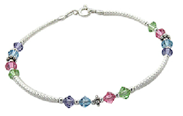 Teens' and Children's Bracelets:  Sterling silver, Pink, Blue, Green and Purple CZ Bracelets for Older Girls