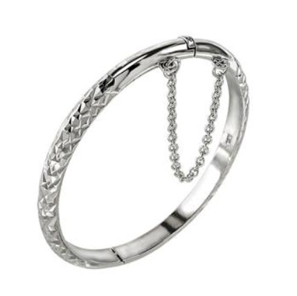 Baby and Children's Bracelets:  Sterling Silver, Embossed Christening Bangle with Safety Chain