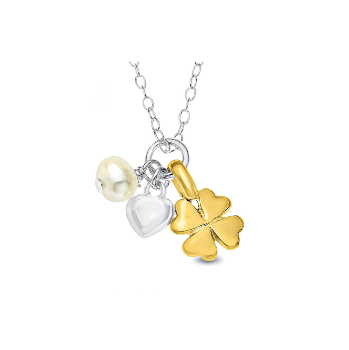 Children's Necklaces:  Sterling Silver Cluster Necklace with Gold Lucky Clover, Pearl and Heart
