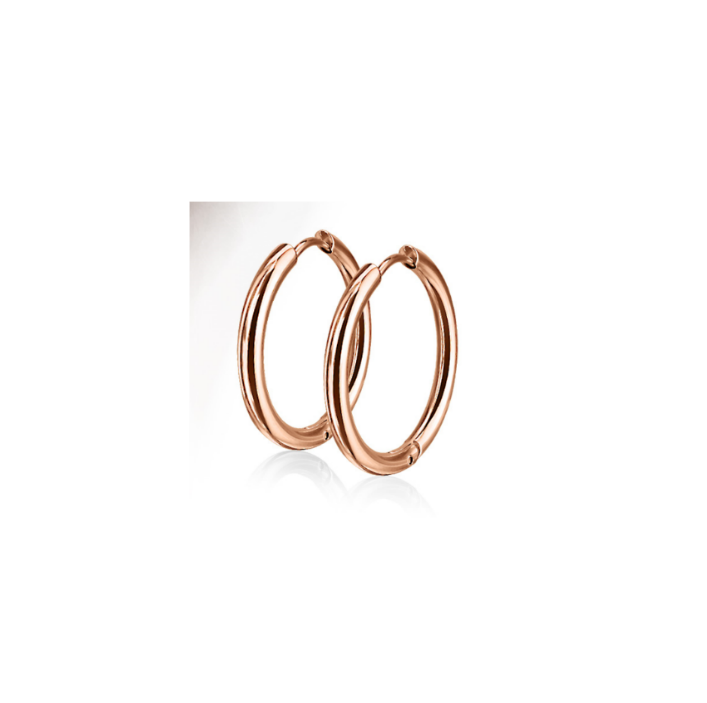 Children's Earrings:  Surgical Steel, Rose Gold IP Hoops - 10mm