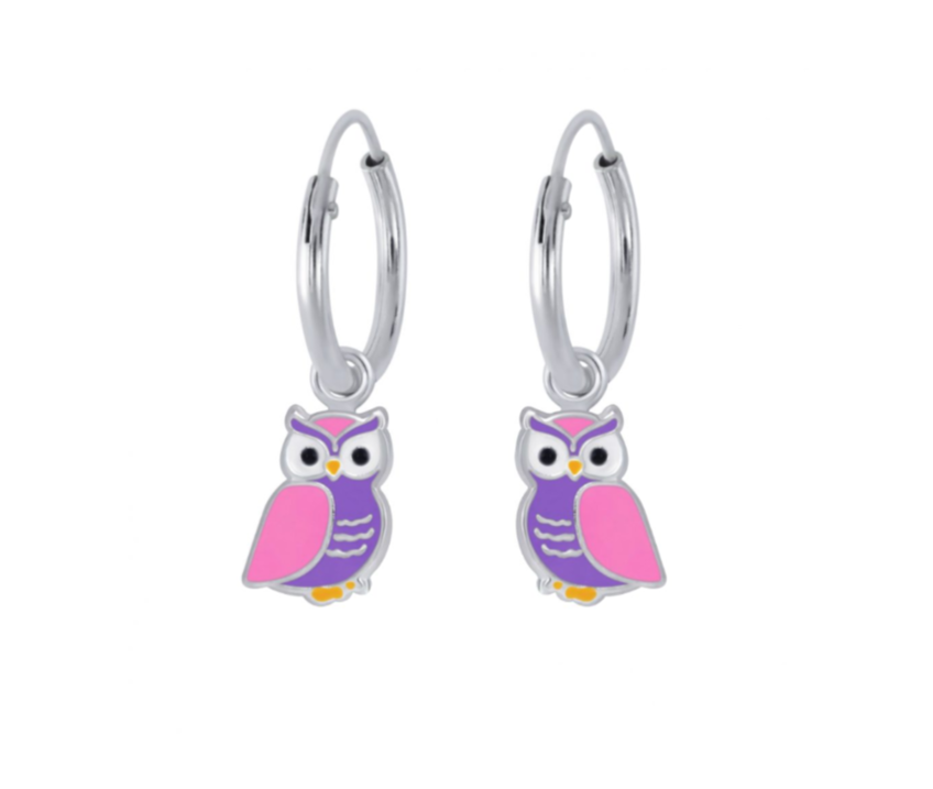 Children's Earrings:  Sterling Silver Sleepers with Owl Dangles