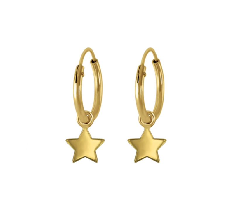 Children's Earrings:  14k Gold over Sterling Silver Sleepers with Star Dangles
