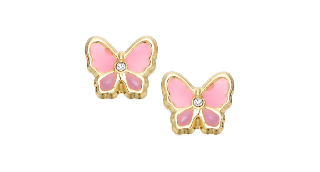 Children's Earrings:  9k Gold Pink Butterfly Earrings with Tiny CZ with Gift Box