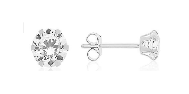 Children's Earrings - Surgical Steel 4mm Clear CZ Studs