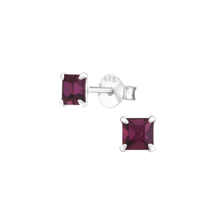 Children's Earrings - Sterling Silver Four Prong, 4mm Princess Cut, Amethyst CZ Studs