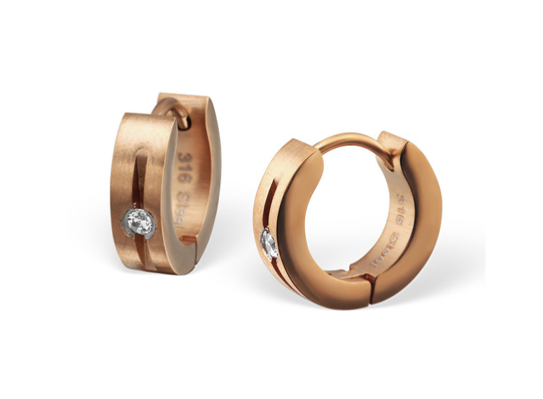 Teens' and Mothers' Earrings:  Surgical Steel IP Rose Gold Huggies