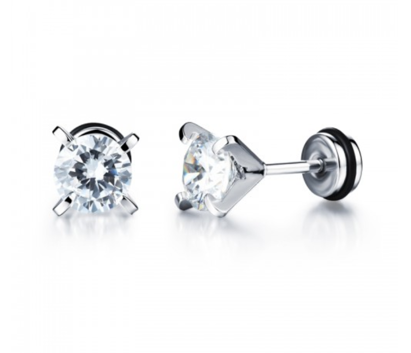 Mothers' and Teens' Earrings:  Titanium 8mm Clear CZ with Easy Grip Screw Backs