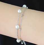 Children's Bracelets/Anklets:  Titanium Double Strand Pearl/Ball Bracelets/Anklets with Gift Box