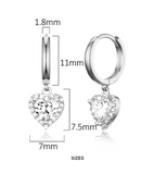 Children's and Teens' Earrings:  Sterling Silver Huggie/Hoops with CZ Hearts