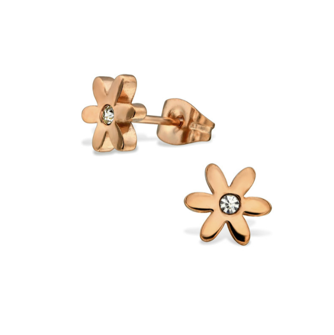 Baby and Children's Earrings:  Surgical Steel, IP Rose Gold Flower Earrings with CZ